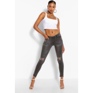 Boohoo Low Rise Rip Knee Skinny Jeans - Grey - 8, Grey Fzz6006613116 Womens Trousers, Grey