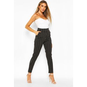 Boohoo Pinstripe Stretch Tailored Trouser - Black - 10, Black Fzz5854110518 Womens Trousers, Black