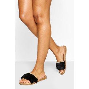 Boohoo Tassel Strap Sliders With Pearl Trim - Black - 4, Black Fzz5832610512 Womens Footwear, Black