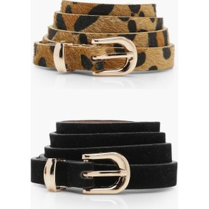 Boohoo Womens 2 Pack Leopard And Suedette Belt - Black - One Size, Black Dzz3067710535 Womens Accessories, Black
