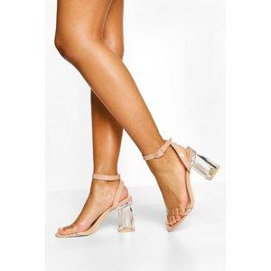 Boohoo Womens Ankle Strap Clear Block Heel Two Parts - Beige - 4, Beige Fzz4803229512 Womens Footwear, Beige