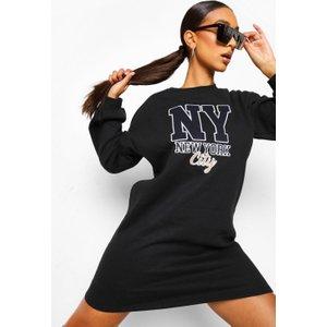 Boohoo Womens Applique Oversized Jumper Dress - Black - 18, Black Fzz4260310551 Womens Dresses & Skirts, Black