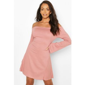 Boohoo Womens Bardot Fit & Flare Dress With Fluted Edge - Pink - 12, Pink Fzz6941015820 Womens Dresses & Skirts, Pink