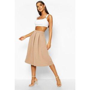 Boohoo Womens Basic Box Pleat Midi Skirt - Beige - 14, Beige Dzz7507316122 Womens Dresses & Skirts, Beige