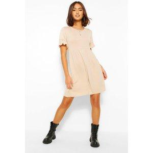 Boohoo Womens Basic Frill Sleeve Smock Dress - Beige - 8, Beige Fzz4604916516 Womens Dresses & Skirts, Beige