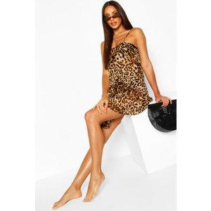 Boohoo Womens Beach Leopard Print Cami Slip Dress - Brown - 16, Brown Szz8515210924 Womens Dresses & Skirts, Brown
