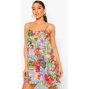 Boohoo Womens Beach Tropical Print Cami Slip Dress - Blue - 10, Blue Szz8515910618 Womens Dresses & Skirts, Blue