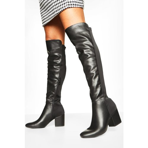 Boohoo Womens Block Heel Knee Boots - Black - 5, Black Fzz7269710513 Womens Footwear