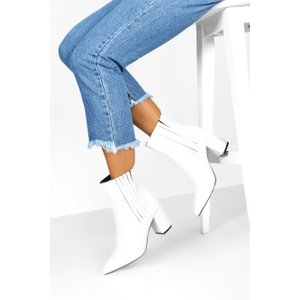 Boohoo Womens Block Heel Pointed Shoe Boots - White - 3, White Fzz8047617311 Womens Footwear, White
