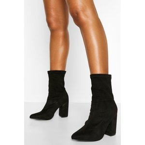Boohoo Womens Block Heel Pointed Sock Boot - Black - 7, Black Fzz5545210515 Womens Footwear, Black