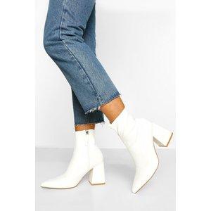 Boohoo Womens Block Heel Pointed Toe Shoe Boot - White - 4, White Fzz5570217312 Womens Footwear, White
