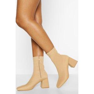 Boohoo Womens Block Heel Square Toe Sock Boots - Beige - 8, Beige Fzz4479729516 Womens Footwear, Beige