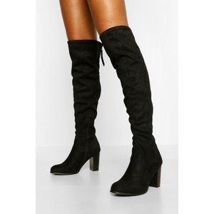 Boohoo Womens Block Heel Zip Back Over The Knee Boots - Black - 7, Black Fzz4478310515 Womens Footwear, Black