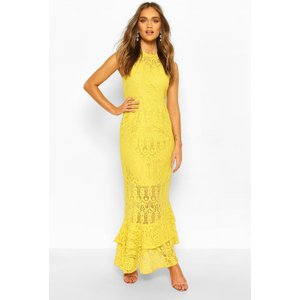 Womens Boohoo Occasion Lace High Neck Maxi Dress - Yellow - 16, Yellow Fzz6948714624 Womens Dresses & Skirts, Yellow