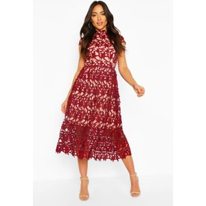 Boohoo Womens Boutique Lace Midi Skater Bridesmaid Dress - Red - 8, Red Dzz2949110416 Womens Dresses & Skirts, Red