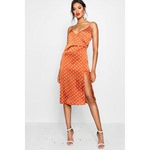 Boohoo Womens Boutique Satin Polka Dot Wrap Slip Dress - Orange - 16, Orange Dzz2861839324 Womens Dresses & Skirts, Orange