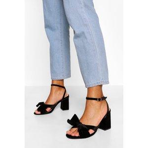 Boohoo Womens Bow Front Low Block Heel Two Parts - Black - 5, Black Fzz5583510513 Womens Footwear, Black