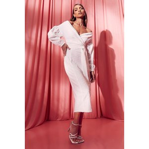 Boohoo Womens Bridesmaid Sequin Off The Shoulder Midi Dress - White - 6, White Fzz6970917314 Womens Dresses & Skirts, White
