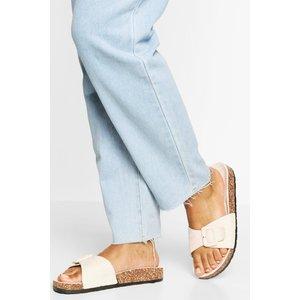 Boohoo Womens Buckle Detail Footbed Slider - Beige - 4, Beige Fzz5419810312 Womens Footwear, Beige