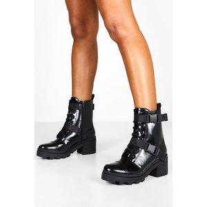 Boohoo Womens Buckle Strap Chunky Hiker Boots - Black - 6, Black Fzz8337410514 Womens Footwear, Black
