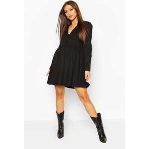 Boohoo Womens Button Detail Smock Dress - Black - 16, Black Fzz7426510524 Womens Dresses & Skirts, Black