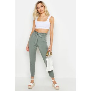 Boohoo Womens Button Detail Tapered Trousers - Green - 10, Green Fzz9517013518 Womens Trousers, Green