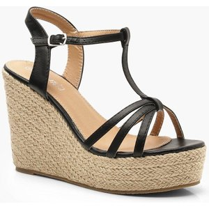 boohoo Womens Caged Peeptoe Espadrille Wedges - Black - 8, Black DZZ0241710516 Womens Footwear, Black
