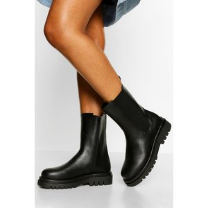 Boohoo Womens Calf High Hiker Boots - Black - 4, Black Fzz5334210512 Womens Footwear, Black
