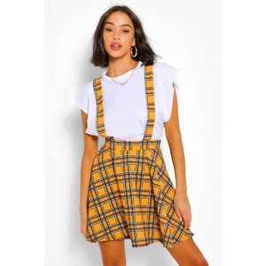 Boohoo Womens Checked Pinafore Flippy Skirt - Yellow - 8, Yellow Fzz5205414616 Womens Dresses & Skirts, Yellow