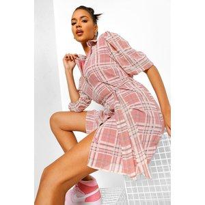 Boohoo Womens Checked Puff Sleeve Shirt Dress - Multi - 14, Multi Fzz4775214422 Womens Dresses & Skirts, Multi