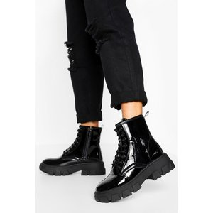 Boohoo Womens Chunky Cleated Platform Hiker Boots - Black - 6, Black Fzz4383410514 Womens Footwear, Black