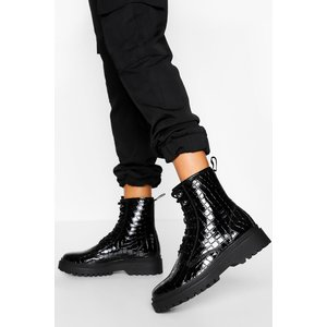 Boohoo Womens Chunky Sole Lace Up Hiker Boot - Black - 4, Black Fzz5335110512 Womens Footwear, Black
