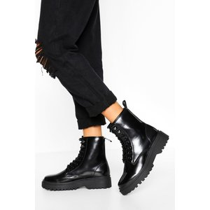 Boohoo Womens Chunky Sole Lace Up Hiker Boot - Black - 5, Black Fzz5335210513 Womens Footwear, Black