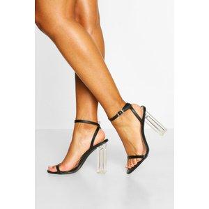 Boohoo Womens Clear Heel Skinny Strap Two Parts - Black - 8, Black Fzz4699110516 Womens Footwear, Black