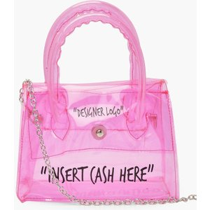 Boohoo Womens Clear Insert Cash Slogan Cross Body Bag - Pink - One Size, Pink Fzz5507215535 Bags, Pink