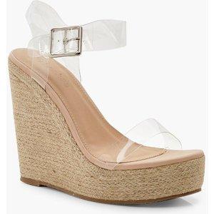Boohoo Womens Clear Strap Espadrille Wedges - Brown - 4, Brown Dzz0188016612 Womens Footwear, Brown