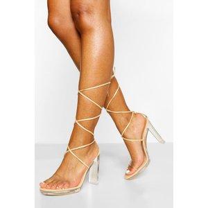 Boohoo Womens Clear Wrap Up Strap Platform Heels - Beige - 5, Beige Fzz0059529513 Womens Footwear, Beige