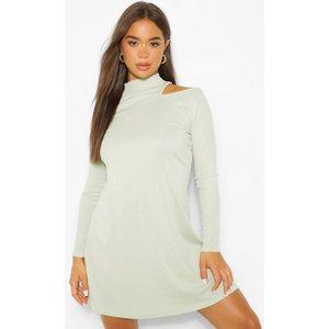 Boohoo Womens Cold Shoulder Roll Neck Swing Dress - Green - 12, Green Fzz4982620920 Womens Dresses & Skirts, Green