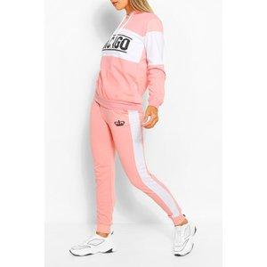 Boohoo Womens Colourblock Chicago Slogan Tracksuit - Pink - L, Pink Fzz6020815534 Womens Sportswear, Pink