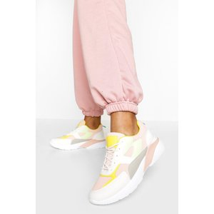 Boohoo Womens Colourblock Chunky Sole Trainers - Pink - 8, Pink Fzz5835015516 Womens Footwear, Pink