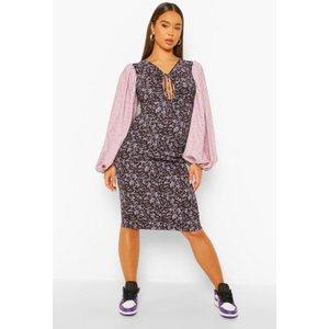 Boohoo Womens Contrast Print Baloon Sleeve Mini Dress - Purple - 10, Purple Fzz4668515618 Womens Dresses & Skirts, Purple