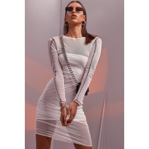 Boohoo Womens Contrast Stitch Mesh Midaxi Dress - White - 8, White Fzz4836417316 Womens Dresses & Skirts, White