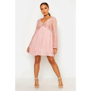 Boohoo Womens Corded Lace Button Woven Smock Dress - Pink - 10, Pink Dzz8690610718 Womens Dresses & Skirts, Pink