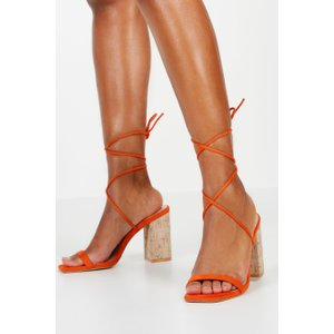 boohoo Womens Cork Heel Wrap Sandals - Orange - 4, Orange FZZ8810715212 Womens Footwear, Orange