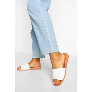Boohoo Womens Croc Basic Single Strap Slider - White - 4, White Fzz5399717312 Womens Footwear, White