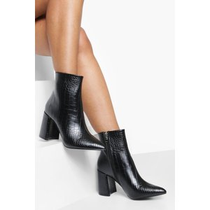 Boohoo Womens Croc Block Heel Sock Boots - Black - 6, Black Dzz0481910514 Womens Footwear, Black