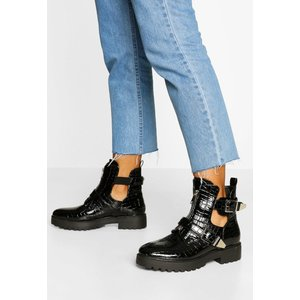 Boohoo Womens Croc Buckle Detail Cut Work Biker Boots - Black - 6, Black Fzz4697910514 Womens Footwear, Black