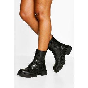 Boohoo Womens Croc Chunky Sole Lace Up Hiker Boots - Black - 3, Black Fzz4702010511 Womens Footwear, Black