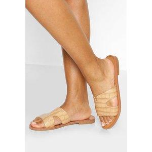 Boohoo Womens Croc Cutwork Slider - Beige - 8, Beige Fzz5964614716 Womens Footwear, Beige