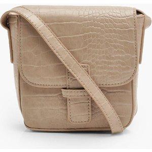 Boohoo Womens Croc Front Tab Cross Body Bag - Beige - One Size, Beige Fzz7610429535 Womens Accessories, Beige